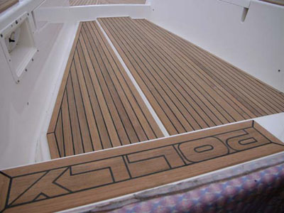 Teak deck on Nauticat